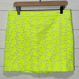 J Crew Yellow Floral Embroidery Skirt Size…
